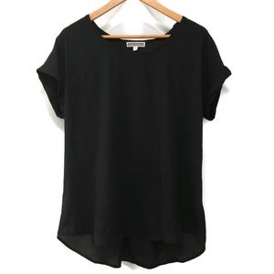 PLEIONE solid black short sleeved blouse